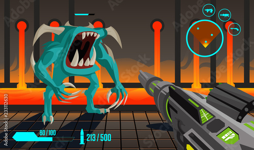 fps first person shooter videogame stage Fototapet