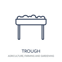 Trough Icon. Trough Linear Symbol Design From Agriculture, Farming And Gardening Collection.