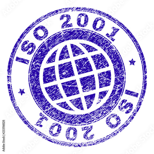 Fotografia  ISO 2001 stamp print with grunge texture