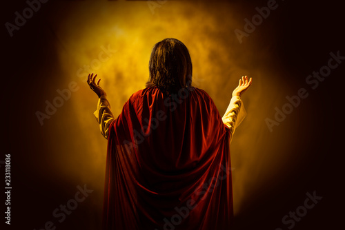 Slika na platnu Rear view of Jesus christ praying to god