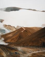 Hiker On Barren Landscape, Iceland