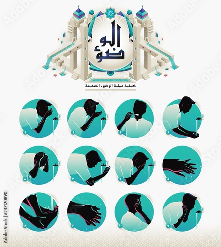 Valokuva How to Perform Ablution or Wudu, arabic version.