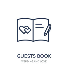 Guests Book Icon. Guests Book Linear Symbol Design From Wedding And Love Collection.