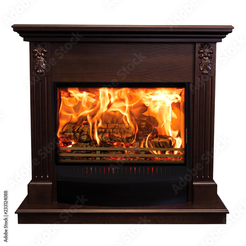 Fotografía Classic burning fireplace isolated on white background