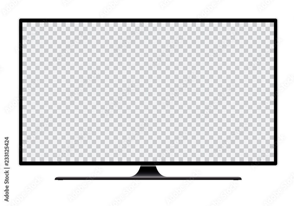 Fototapeta Realistic illustration of black TV with stand and blank transparent isolated screen with space for your text or image - isolated on white background
