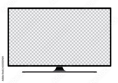 Photo  Realistic illustration of black TV with stand and blank transparent isolated scr