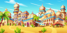 My Small City Scene, Desert City. Video Game Digital CG Artwork, Concept Illustration, Realistic Cartoon Style Scene Background Design