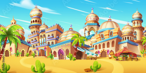 Fototapeta My Small City Scene, Desert City. Video Game Digital CG Artwork, Concept Illustration, Realistic Cartoon Style Scene Background Design  obraz