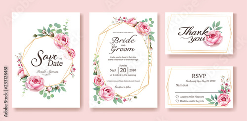 Obraz Floral wedding Invitation, save the date, thank you, rsvp card Design template. Vector. Queen of Sweden rose, silver dollar, leaves, Wax flower. vector. - fototapety do salonu