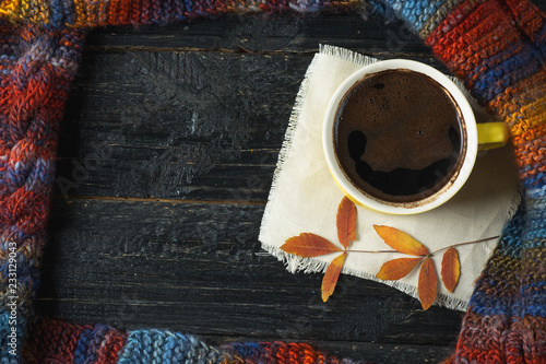 Fotografie, Obraz  A mug of hot coffee or chocolate on a dark table with dry leaves and copy space