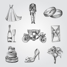 Hand Drawn Wedding Elements Sketches Set. Collection Of Champagne, Shoe, Wedding Dress, Tuxedo, Wedding Cake, Bridal Bouquet, Rings. Vintage Wedding Illustration Isolated On White Background.