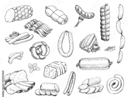 Valokuvatapetti Vector set of different meat products in sketch style