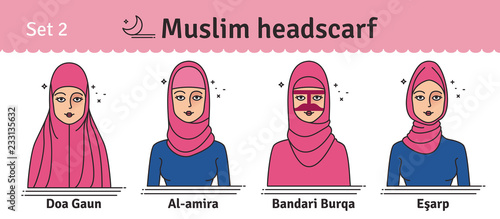 Muslim headwear guide. The set of different types of women headscarves.  Vector icon colorful illustration. Set 2. ba31a98da29