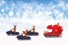 Santa Claus Cartoon Character And Reindeer Driving Snowmobile With Winter Landscape Background. Vector Illustration Merry Christmas And Happy New Year.