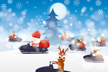 Santa Claus Cartoon Character And Reindeer Driving Snowmobile On Winter Background With Snowflakes. Vector Illustration Merry Christmas