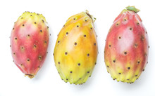 Opuntia Fruit Or Prickly Pear Fruit On White Background. Close-up.
