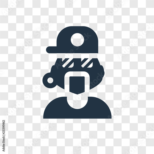 Photo Rapper vector icon isolated on transparent background, Rapper transparency logo