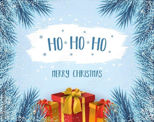 Ho Ho Ho Merry Christmas.Ho Ho Ho Merry Christmas Card With Blue Winter Christmas