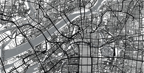 Photo Urban vector city map of Osaka, Japan