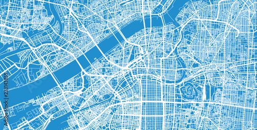 Obraz na plátně Urban vector city map of Osaka, Japan