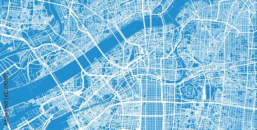 Canvas Print Urban vector city map of Osaka, Japan