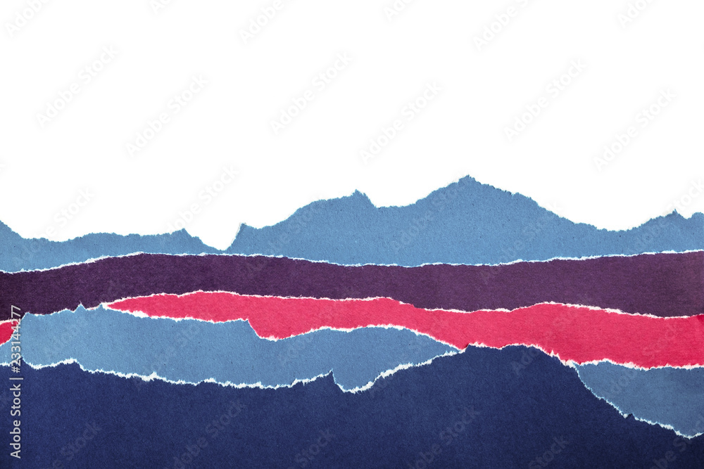 Fototapety, obrazy: Layers of colored paper with torn edges. Abstract background
