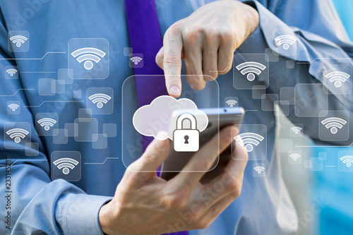 Stampa su Tela  Business button cloud lock in network wifi on phone.