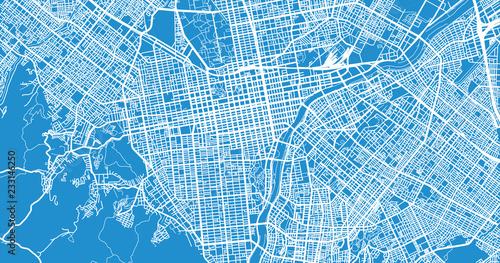 Fotomural  Urban vector city map of Sapporo, Japan