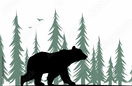 Naklejka premium Niedźwiedź sylwetka z lasem.