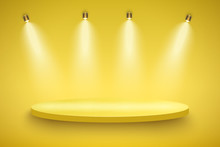 Light Box With Yellow Presentation Circle Platform On Light Backdrop With Four Spotlights. Editable Background Vector Illustration.