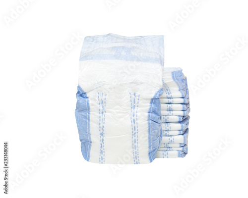 Fotografiet  stack of baby diapers isolated on white background