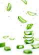Aloe Vera slices stacked with water splash