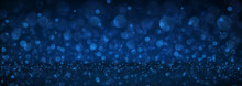 Blue Abstract Blurred Banner With Bokeh Effect.