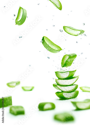 Aloe Vera slices stacked with water splash Canvas Print