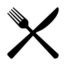 Fork And Butter Knife Eating Utensils In Crossed Position Flat Vector Icon For Apps And Websites