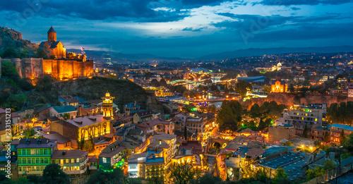 Printed kitchen splashbacks Turkey Panoramic view of Tbilisi, Georgia after sunset