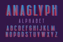 Anaglyph Alphabet. Cyan Red Vi...