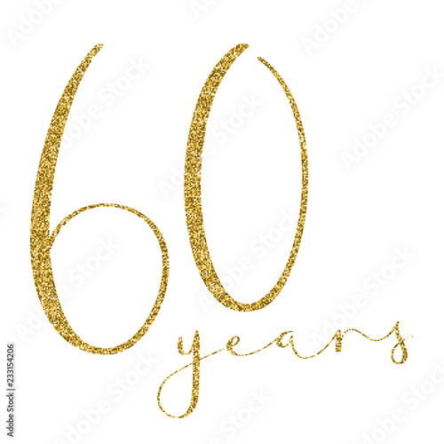 60 YEARS gold glitter brush calligraphy icon Poster Mural XXL