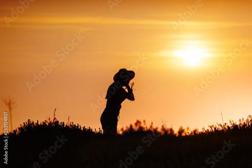 Deurstickers Baksteen girl summer sunset