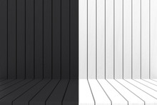 3d Rendering. Empty Black White Wood Wall And Floor Background.