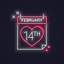 Valentines Day Neon Calendar. ...