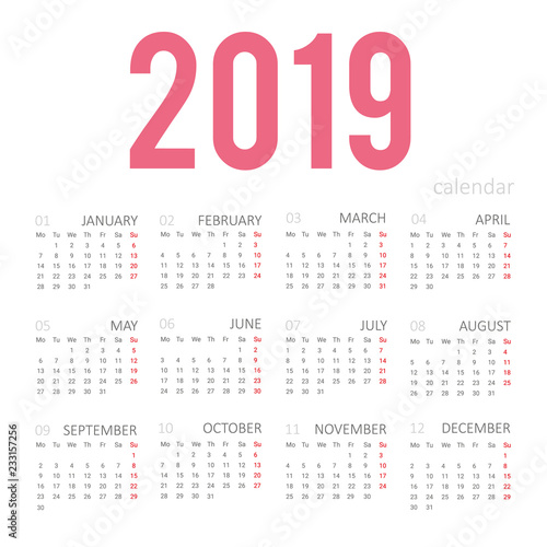 Simple concept of calendar for 2019 new year  Months are taken in a
