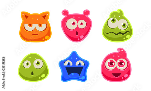 Cute funny colorful jelly characters set, user interface