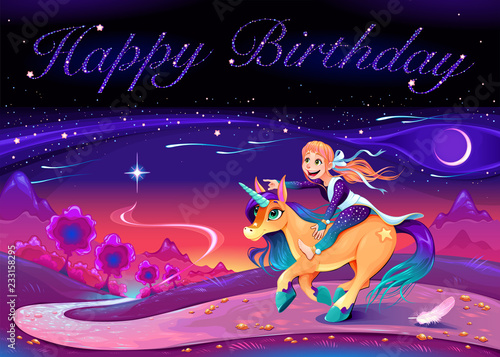 Fotobehang Kinderkamer Happy Birthday card with girl riding the unicorn.