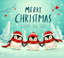 Cute Little Penguins In Christmas Snow Scene Winter Landscape. Christmas Cute Animal Cartoon Character.
