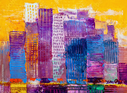 Fototapety, obrazy: Abstract oil painting cityscape, with skyscrapers against a sun
