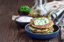 Vegetarian Zucchini Fritters Or Pancakes, Served With Greek Yogurt And Green Onion, In Little Pan, Horizontal, Copy Space
