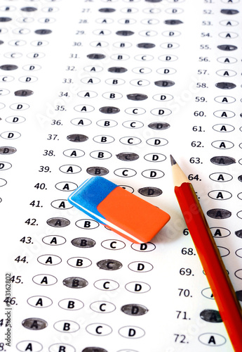 Test answer sheet with pencil  Examination test  Education