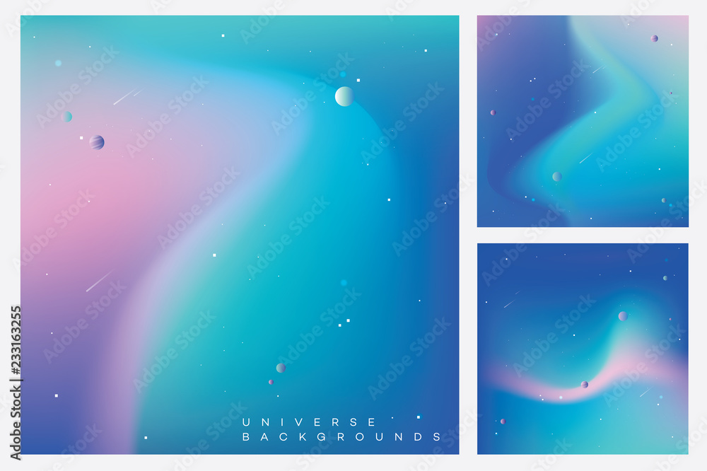 Fototapety, obrazy: Modern colorful universe backgrounds with stars, planets and asteroids in minimal composition