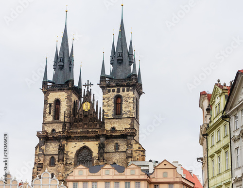 Tyn Church, the Catholic Church of Our Lady before Tyn. Gothic, neogothic style. Prague, Czech Republic